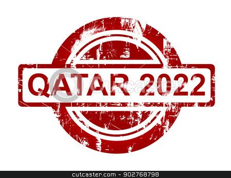 Qatar 2022 stamp stock photo, Qatar 2022 stamp isolated on white background. by Martin Crowdy