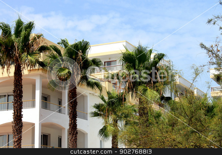 Spanish homes and palm trees stock photo, Scenic view of white Spanish homes with palm trees in foreground. by Martin Crowdy