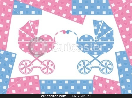 Two prams stock vector clipart, pink and blue prams with colour borders by blumer