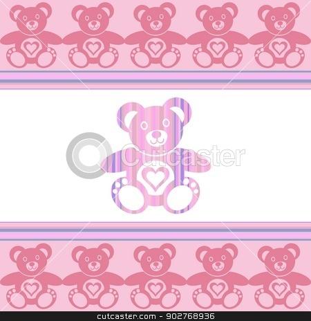 Teddy bear stock vector clipart, pink teddy bear with teddy bears around by blumer