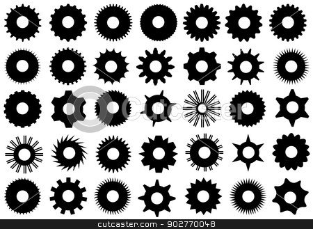 Different Gear Shapes Isolated stock vector clipart, Different gear shapes isolated on white by Ioana Martalogu