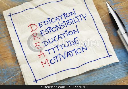 dream acronym on a napkin stock photo, dedication, responsibility, education, attitude, motivation - DREAM acronym - a napkin doodle by Marek Uliasz