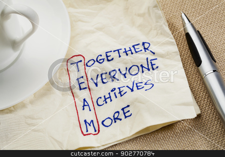 teamwork concept stock photo, TEAM acronym (together everyone achieves more), teamwork motivation concept - a napkin doodle by Marek Uliasz
