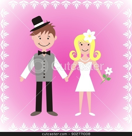 Bride and groom stock vector clipart, Cute bride and groom on pink background with white ornamental frame by blumer