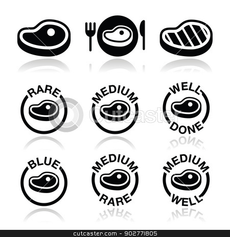 Steak - medium, rare, well done, grilled icons set stock vector clipart, Vector icons set of beaf or pork steak isolated on white by Agnieszka Murphy
