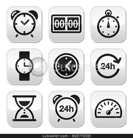 Time, clock vector buttons set stock vector clipart, Different type of measuring time buttons set isolated on white by Agnieszka Murphy