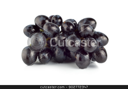 Ripe blue grape isolated stock photo, Blue grape isolated on white background by Givaga