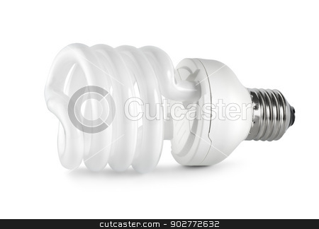 Energy saving  fluorescent lightbulb. Path stock photo, Energy saving compact fluorescent lightbulb isolated on white background (Path) by Givaga