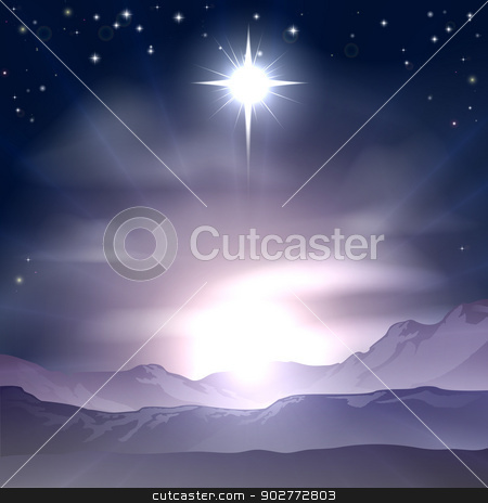 Christmas Star of Bethlehem Nativity stock vector clipart, A Christian Christmas illustration of the Star of Bethlehem that the wise men followed over the dessert landscape. A Christmas Nativity landscape concept  by Christos Georghiou