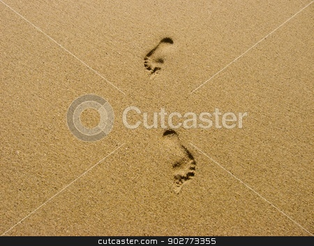Traces in the Sand stock photo, Traces of feet in the sand of a beach. by Jean-Francois Gelinas