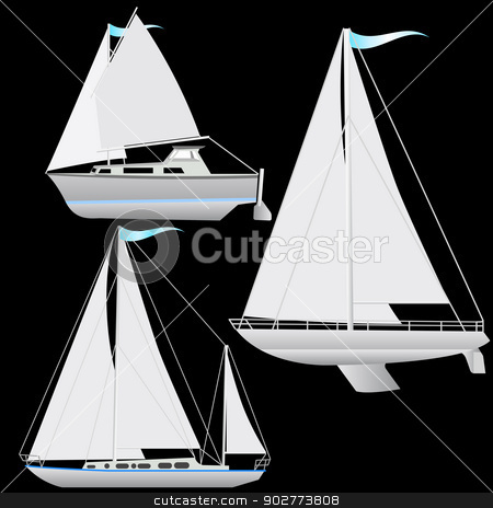 Set sailing boat floating. Vector illustration. stock vector clipart, Set sailing boat floating. Vector illustration. by aarrows