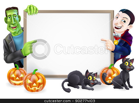 Dracula and Frankenstein Halloween Sign  stock vector clipart, Halloween sign or banner with orange Halloween pumpkins and black witch's cats, witch's broom stick and cartoon Frankenstein monster and Dracula vampire characters  by Christos Georghiou