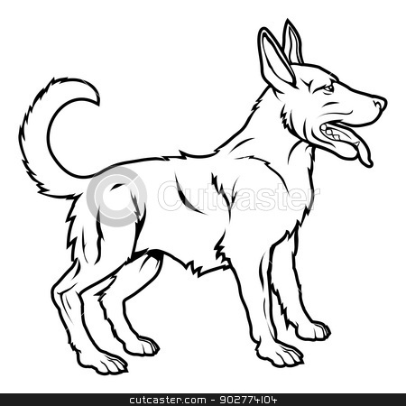 Stylised dog illustration stock vector clipart, An illustration of a stylised dog perhaps a dog tattoo by Christos Georghiou
