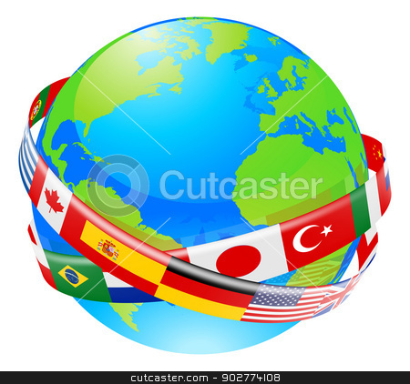 A earth globe with flags of countries stock vector clipart, A conceptual illustration of a globe with the flags of lots of countries flying around it.  by Christos Georghiou