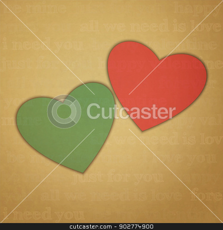 we need stock vector clipart, new image with two hearts labels on cardboard background can use like retro style design elements by metrue