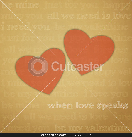 love speaks stock vector clipart, new image with hearts symbols on paper background can use like greeting card by metrue