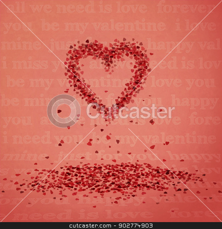 falling hearts stock vector clipart, new conceptual image with heart sign and falling petals can use like modern design icon by metrue