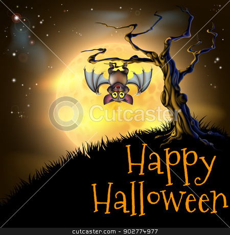 Orange Halloween Vampire Bat Background stock vector clipart, A spooky scary orange Halloween background scene with vampire bat hanging from a spooky tree with a full moon in the background by Christos Georghiou