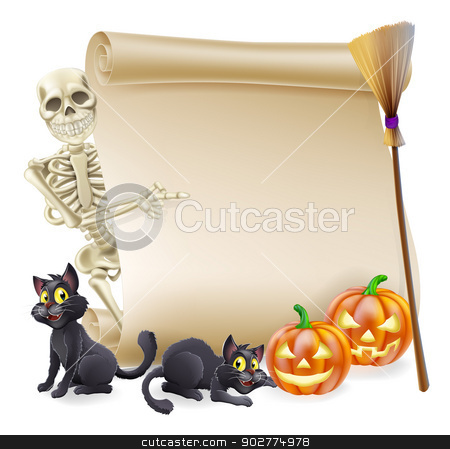 Halloween Skeleton Scroll Banner stock vector clipart, Halloween scroll or banner sign with orange carved Halloween pumpkins and black witch's cats, witch's broom stick and cartoon skeleton character by Christos Georghiou