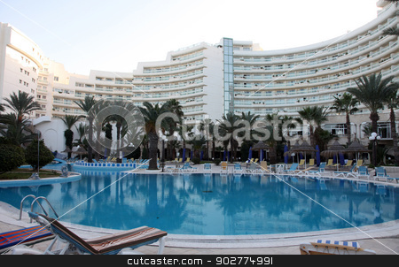 Hotel swimming pool in Sousse, Tunisia stock photo, Hotel swimming pool in Sousse, Tunisia by Zvonimir Atletic