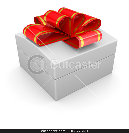 Jewelry box with a ribbon stock photo, Jewelry box with a ribbon. Isolated render on a white background by cherezoff