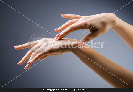 Woman hands against gradient background stock photo, Woman hands against gradient background by Elnur