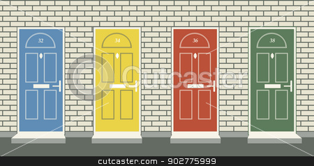 Front doors stock vector clipart, Editable vector illustration of four colorful front doors by Robert Adrian Hillman