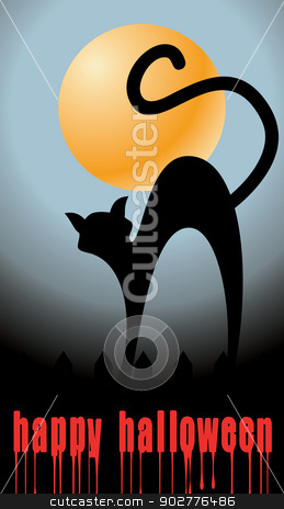 halloween background with full orange moon and black cat stock vector clipart, halloween background with full orange moon and black cat - vector illustration by ojal_2