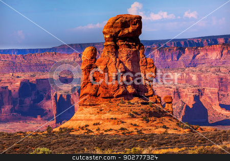Sandstone Rock Formation Moab Fault Arches National Park Moab Ut stock photo, Sandstone Rock Formation Moab Fault Windows Section Arches National Park Moab Utah USA Southwest.  by William Perry
