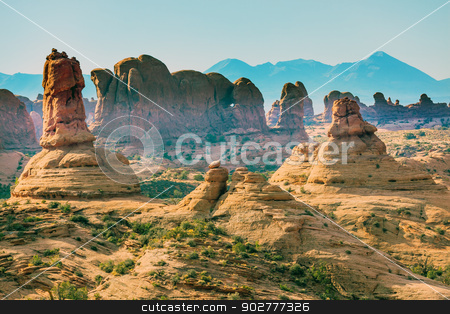 Petrified Sand Dunes Garden of Eden La Salle Mountains Arches Na stock photo, Petrified Sand Dunes Garden of Eden Windows Section La Salle Mountains Arches National Park Moab Utah USA Southwest. Classic sandstone hoodoos in Arches National Park. by William Perry