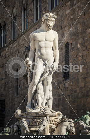 Neptune Fountain stock photo, An image of the Neptune fountain in Florence Italy build by Bartolomeo Ammannati by Markus Gann