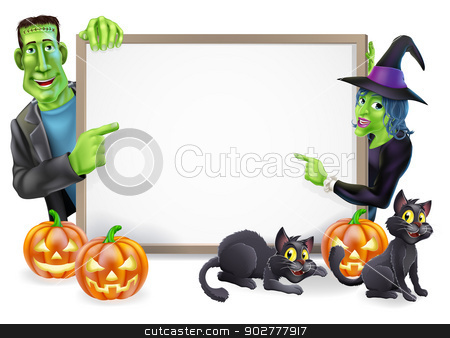 Halloween Witch and Frankenstein Banner stock vector clipart, Halloween sign or banner with orange Halloween pumpkins and black witch's cats, witch's broom stick and cartoon Frankenstein monster and witch characters  by Christos Georghiou