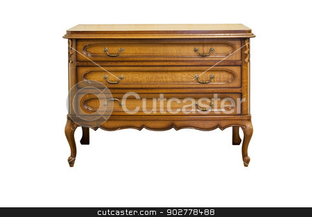Antique dresser stock photo, XIX century antique dresser made from oak wood isolated on white. by Rimantas Abromas