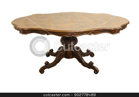 Antique furniture stock photo, Antique twentieth century table isolated on white background by Rimantas Abromas