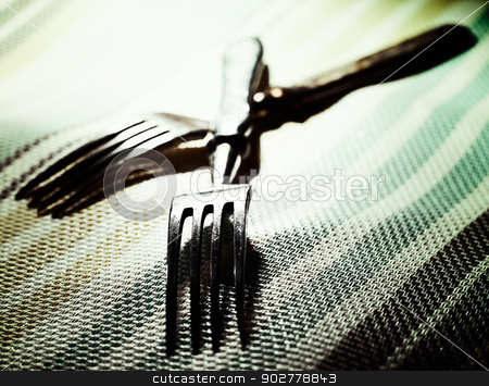Pair. Abstract kitchen still life with two fork stock photo, Pair. Abstract kitchen still life with two fork by tolokonov