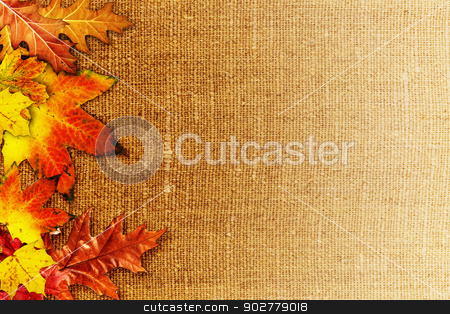 Fallen foliage over old hessian fabric, abstract autumn backgrou stock photo, Fallen foliage over old hessian fabric, abstract autumn backgrounds by tolokonov