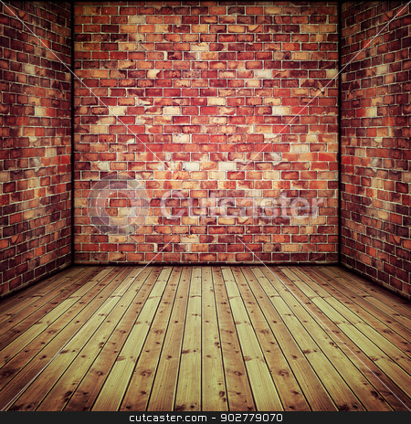Abstract interior with old brick wall and wooden floor stock photo, Abstract interior with old brick wall and wooden floor by tolokonov