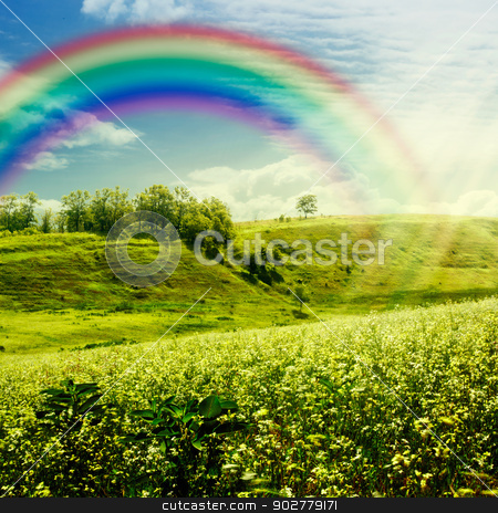 Rainbow on the meadow. Abstract natural backgrounds for your des stock photo, Rainbow on the meadow. Abstract natural backgrounds for your design by tolokonov