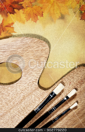 Autumnal abstract still life over canvas background for your des stock photo, Autumnal abstract still life over canvas background for your design by tolokonov