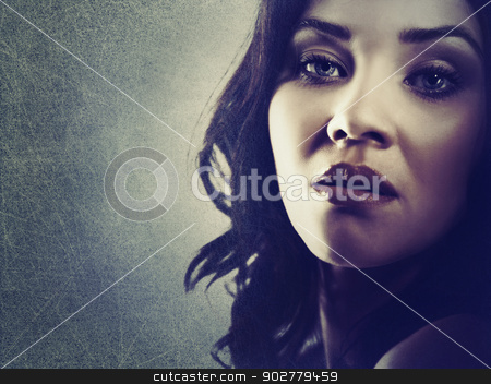 Fashion woman. Grungy female portrait with copy space stock photo, Fashion woman. Grungy female portrait with copy space by tolokonov