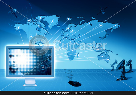 Global communications and internet. Abstract technology backgrou stock photo, Global communications and internet. Abstract technology backgrounds by tolokonov