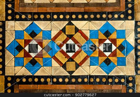 Large Mosaic Floor Tiles stock photo, Worn Chunky Mosaic Floor  Tiles in Geometric Pattern by essentialimagemedia