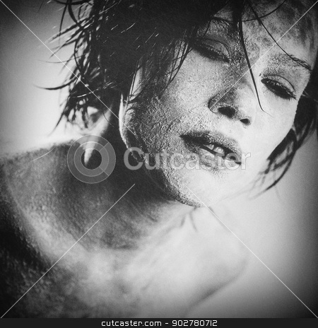 Zombie, grungy female portrait with added scratched texture stock photo, Zombie, grungy female portrait with added scratched texture by tolokonov