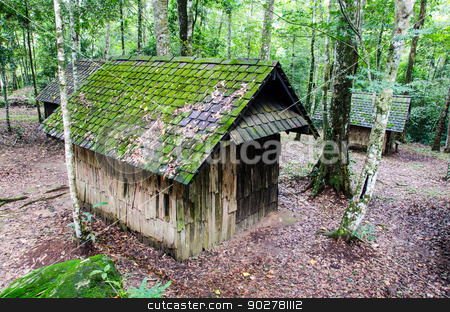 wooden house  stock photo, Old wooden house in the rainforest. by chatchai