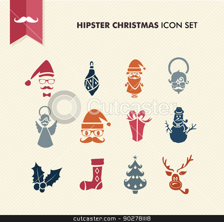 Hipster Merry Christmas icons set EPS10 file. stock vector clipart, Colorful Hipster Merry Christmas icon set with glasses and fashion elements. EPS10 vector file organized in layers for easy editing. by Cienpies Design