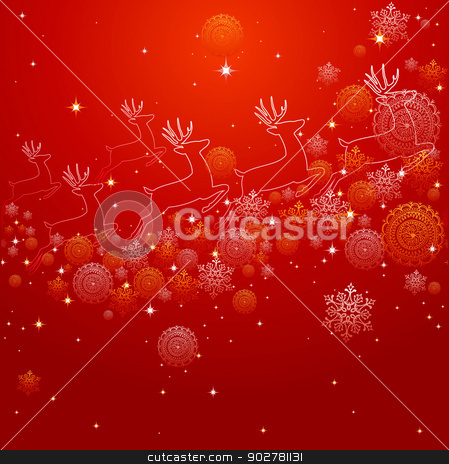 Merry Christmas reindeer shape and snowflakes composition EPS10  stock vector clipart, Merry Christmas red composition made with reindeer shapes, snowflakes and winter elements. EPS10 vector file organized in layers for easy editing. by Cienpies Design