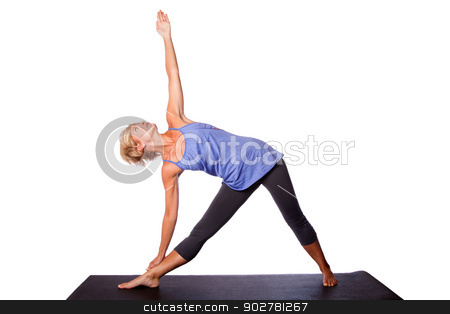 Beautiful woman doing Triangle yoga pose stock photo, Beautiful healthy woman doing Triangle Utthita Trikonasana yoga pose standing on mat, on white. by Paul Hakimata