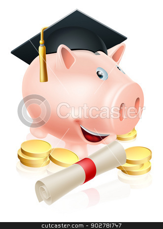 Saving for career piggy bank stock vector clipart, Happy piggy bank cartoon with graduation cap and diploma scroll with gold coins. Saving for a career or education. by Christos Georghiou
