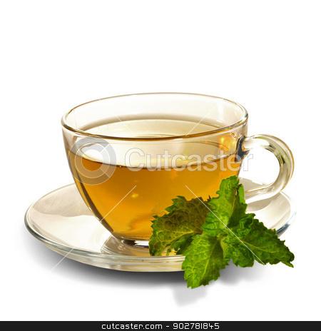 breakfast still-life. green tea with  fresh mint leaf stock photo, breakfast still-life. green tea with  fresh mint leaf. is not  cut-out image by tolokonov
