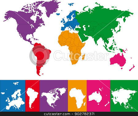 Colorful world map stock vector clipart, Color map showing the various continents by Volina